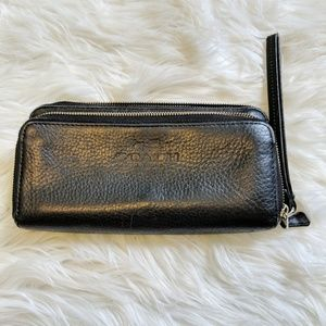 Coach pebbled leather zip around wallet wristlet